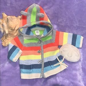 GAP MULTICOLORED HOODED SWEATER COAT